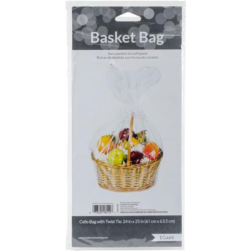 "Cello Basket Bag 24""X25""-Clear -CBB - 073525181127"