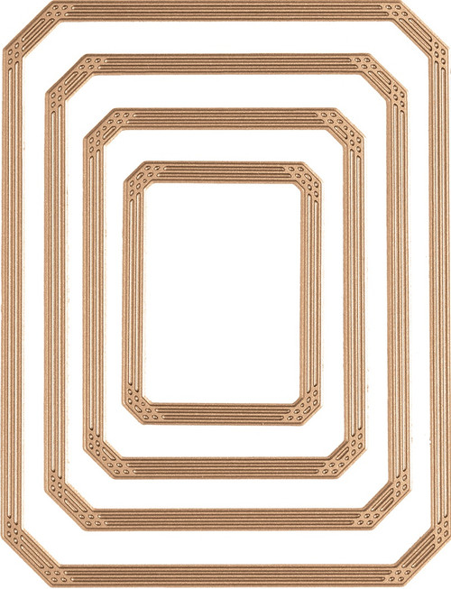Spellbinders Amazing Papers Grace Glimmer Hot Foil Plate-Guilded Nested Rectangle Glimmer -GLP103