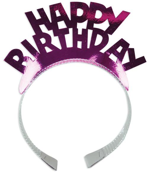 Foil Tiaras 4/Pkg-Happy Birthday Assorted Colors -02-0125