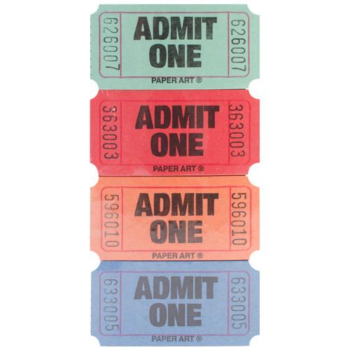 Admit One Tickets 2000 Tickets/Roll-Red, Blue, Orange & Green -13-2500 - 073525600888