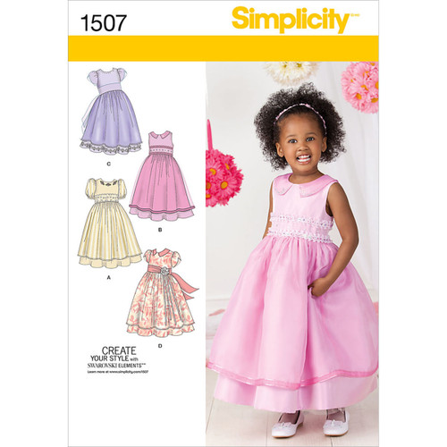 Simplicity Toddler Girl Special Occasion Dress-4-5-6-7-8 -US1507BB - 039363615071