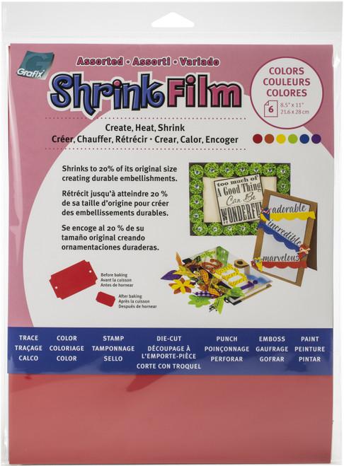 "Grafix Shrink Film 8.5""X11"" 6/Pkg-Red, Yellow, Purple, Blue, Orange, Green -KSF6ASST - 096701141524"