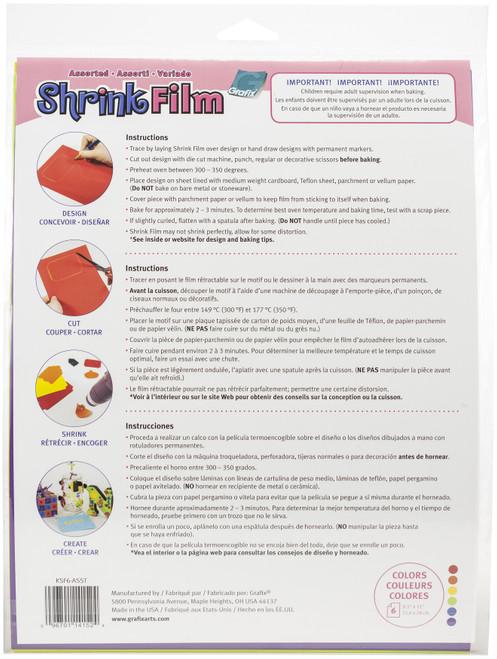 "Grafix Shrink Film 8.5""X11"" 6/Pkg-Red, Yellow, Purple, Blue, Orange, Green -KSF6ASST"