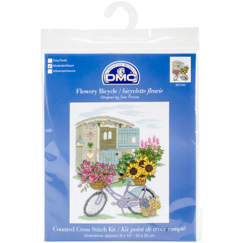 """DMC Counted Cross Stitch Kit 8'X10""""-Flowery Bicycle (14 Count) -BK1549 - 077540652204"""
