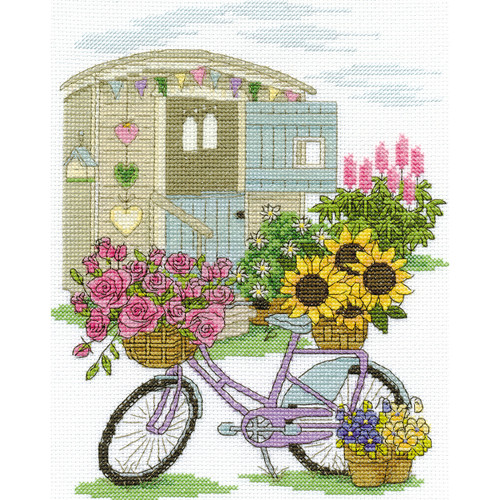 """DMC Counted Cross Stitch Kit 8'X10""""-Flowery Bicycle (14 Count) -BK1549"""