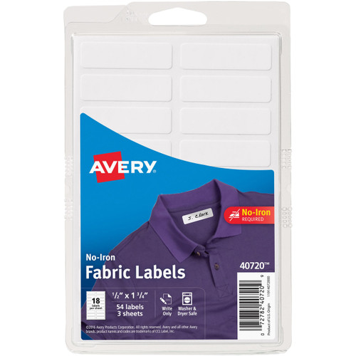 No-Iron Handwrite Fabric Labels 3 Sheets-White -40720 - 072782407209