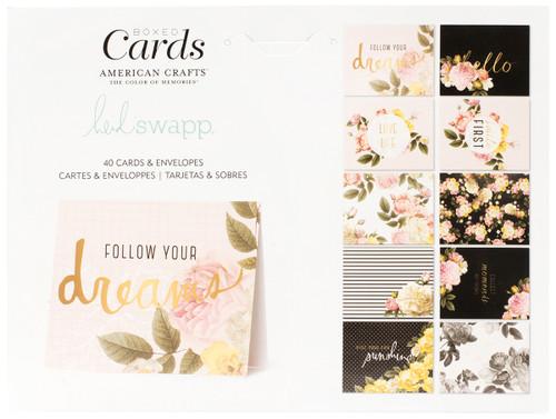 "Heidi Swapp A2 Cards W/Envelopes (4.375""X5.75"") 40/Box-Floral -HS347054"