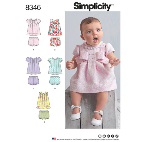 Simplicity Baby Dress & Panties With Sleeve Variations-XXS-XS-S-M-L -US8346A - 039363583462
