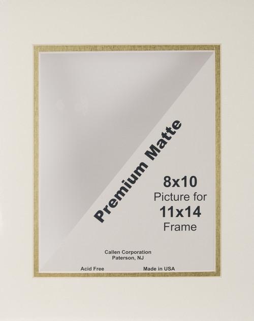 "Photo Mat 11""X14"" Double Hand-Cut W/Bevel Edge-Ivory W/Gold Core -DHC1114-11200 - 078592112005"