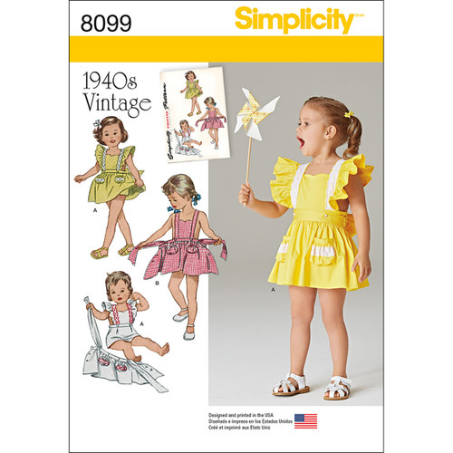 Simplicity Toddler 1940's Vintage Romper & Button-On Skirt-1/2-1-2-3-4 -US8099A - 039363580997