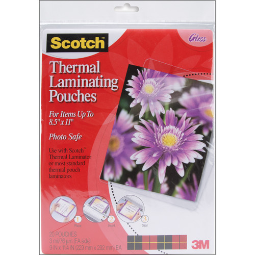 "Scotch Thermal Laminator Pouches 3 Mil 20/Pkg-9""X11.4"" -TP385420 - 021200468773"