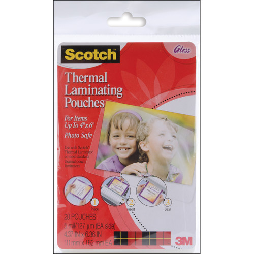 "Scotch Thermal Laminator Pouches 3 Mil 20/Pkg-4""X6"" -TP590020 - 021200468803"