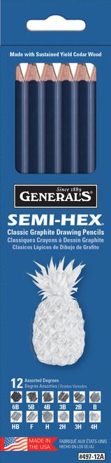 Semi-Hex Graphite Drawing Pencils 12/Pkg-49712A - 044974497121