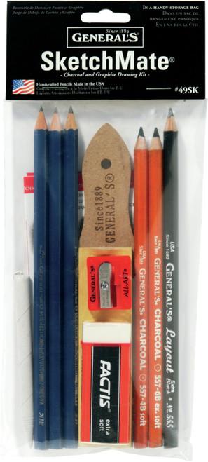 SketchMate Charcoal & Graphite Drawing Kit 9pcs-49SK - 044974497497