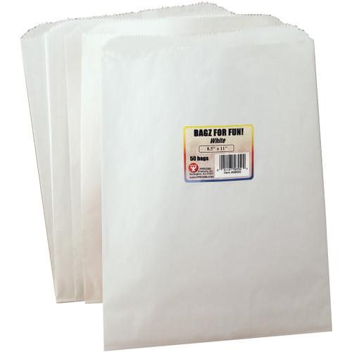"Hygloss Pinch Bottom Paper Bags 8.5""X11"" 50/Pkg-White -58550"