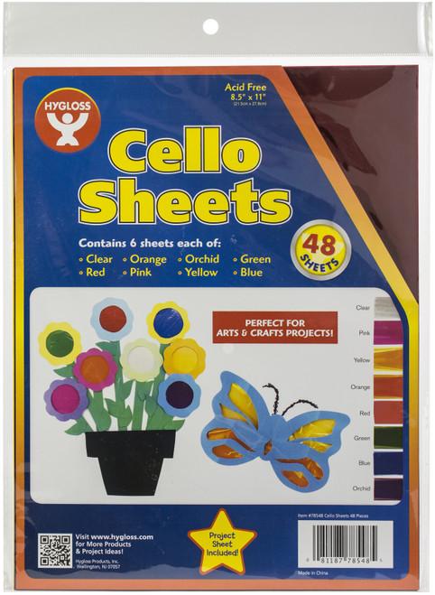 """Cello Sheets 8.5""""X11"""" 48/Pkg-6 Each Of 8 Colors -78548 - 081187785485"""