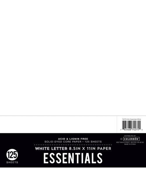 """Colorbok Essentials 24lb Cardstock 8.5""""X11"""" 125/Pkg-White -74275 - 765468742755"""