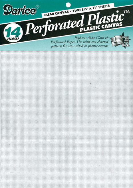 """Darice Perforated Plastic Canvas 14 Count 8.5""""X11"""" 2/Pkg-Clear -39500-1 - 082676077906"""