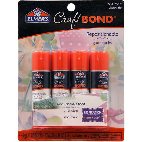 Elmer's CraftBond(R) Repositionable Glue Sticks 4/Pkg-.21oz -E4020 - 026000040204