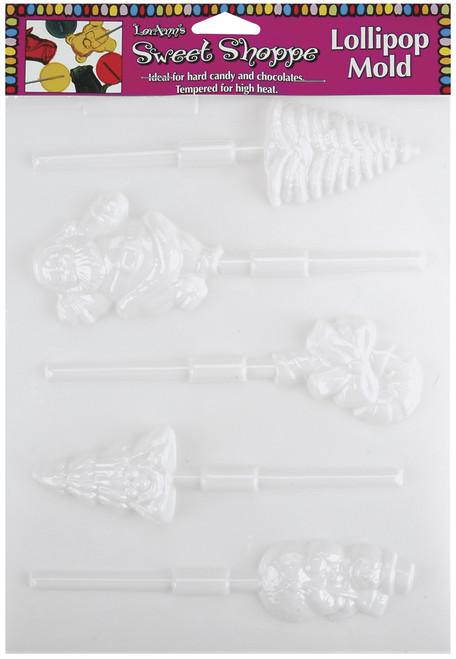 Sweet Shoppe Candy Molds-5 Cavity Christmas Lollipop -L55-68 - 023535055680