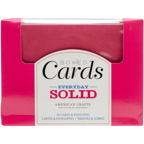 """American Crafts A2 Cards W/Envelopes (4.375""""X5.75"""") 40/Box-Everyday Solid -366247 - 718813662475"""
