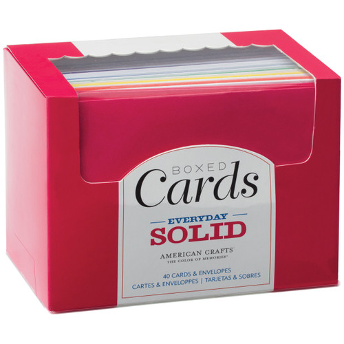 """American Crafts A2 Cards W/Envelopes (4.375""""X5.75"""") 40/Box-Everyday Solid -366247"""