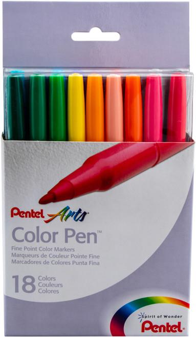 Pentel Arts Color Pen Fine Point Color Markers 18/Pkg-S360-18 - 072512101353