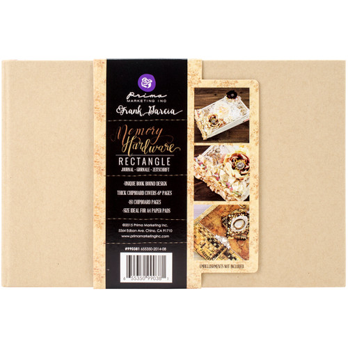 """Prima Memory Hardware Chipboard Journal 5.75""""X8.75""""-Kraft Rectangle W/8 Pages -990381 - 655350990381"""