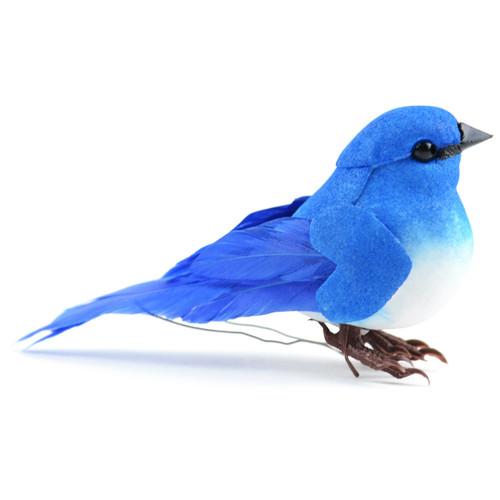 "Mushroom Bird W/Wire 3""-Mountain Bluebird -MD20559"