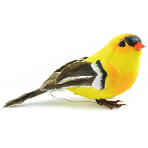 """Mushroom Bird W/Wire 4""""-American Goldfinch -MD20553"""