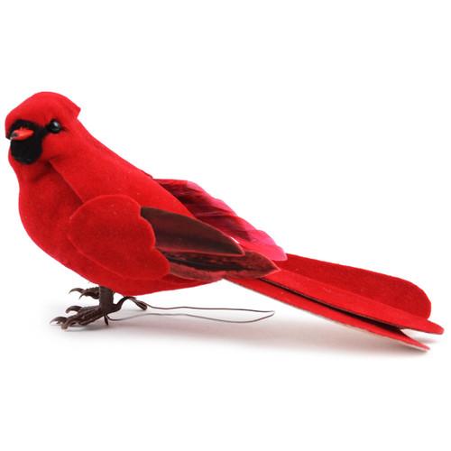 "Mushroom Bird W/Wire 5""-Male Cardinal -MD20643"