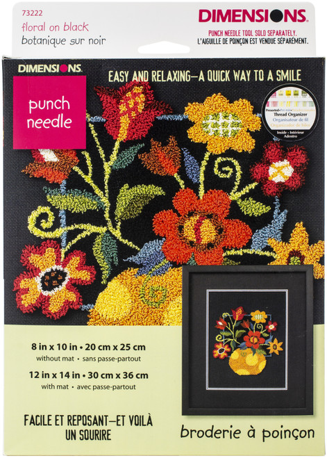 """Dimensions Punch Needle Kit 10""""X8""""-Floral On Black -73222 - 088677732226"""