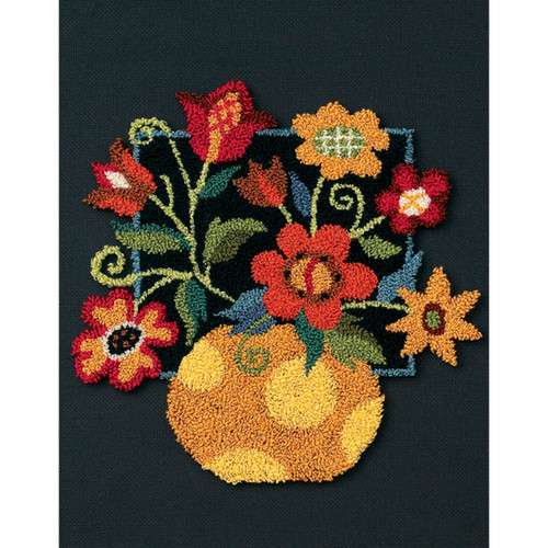 """Dimensions Punch Needle Kit 10""""X8""""-Floral On Black -73222"""