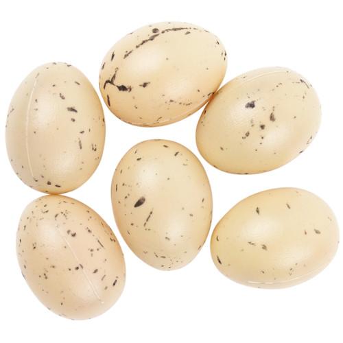 "Plastic Bird Eggs 1"" 6/Pkg-Beige W/Brown Speckles -MD22205"