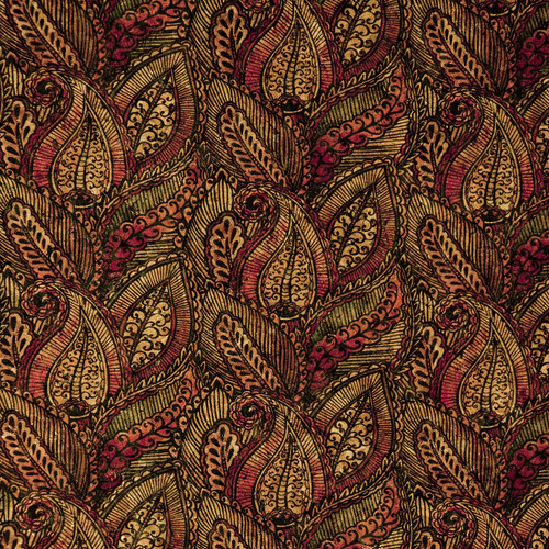 """Belagio Packaged Cork Fabric Multi-Colored Print 18""""X15""""-Red Paisley -BPC1009 - 037611806301"""