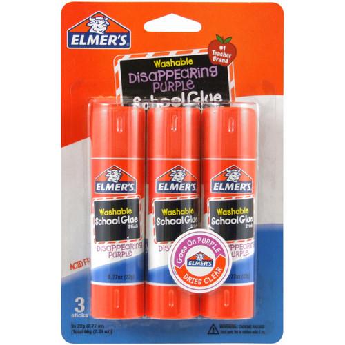 Elmer's Washable School Glue Stick Purple 3/Pkg-.77oz -E562 - 026000005623