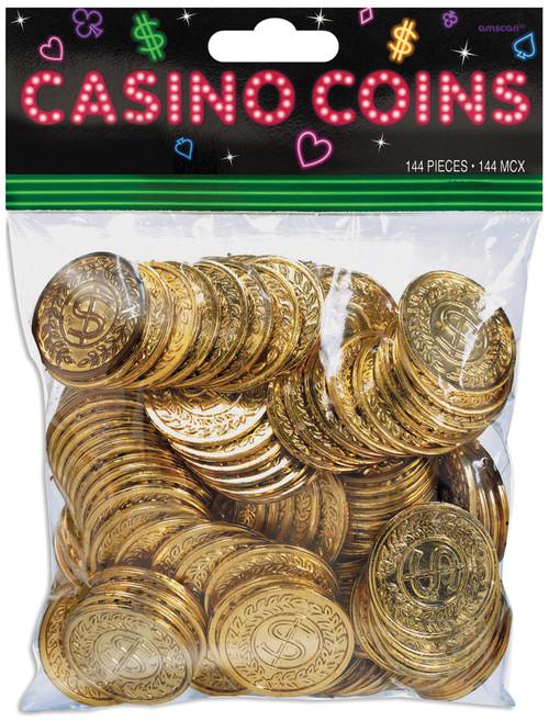 "Casino Coins 1.375"" 144/Pkg-Gold W/Vine Border & Dollar Sign -255572 - 048419695509"