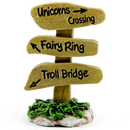 "Fairy Garden Unicorn Crossing/Fairy Ring/Troll Bridge Sign-2.5""X1.75"" -51711 - 684653517117"