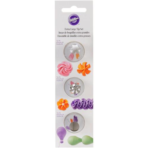 Decorating Tip Set 3/Pkg-XL Star #1M, Flower #2D & Round #2A -W4181704 - 070896517043