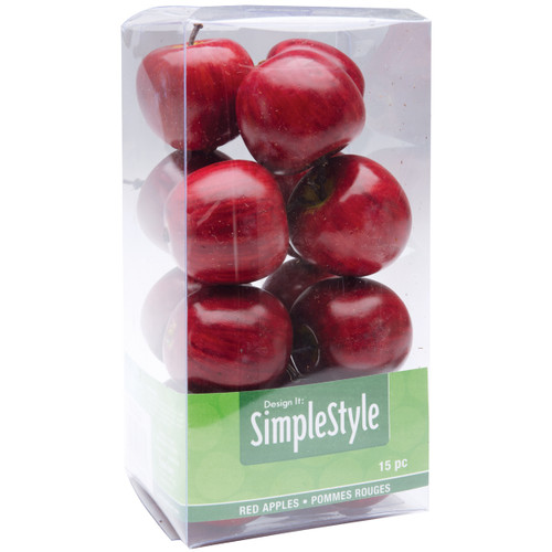 Floracraft Design It Simple Decorative Fruit 15/Pkg-Mini Red Apples -RS9800 - 046501063373