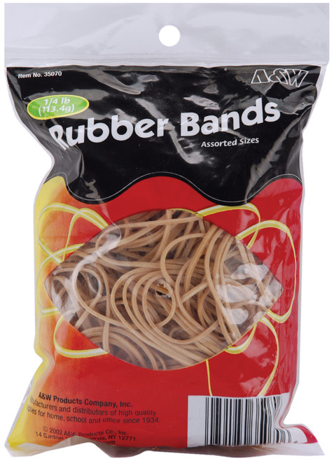 Rubber Bands .25lb-Tan Assorted Sizes -35070 - 079184350706