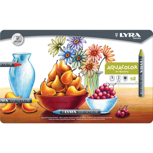Lyra Aquacolor Water-Soluble Crayons 48/Pkg-Assorted Colors -5611480 - 4084900531143