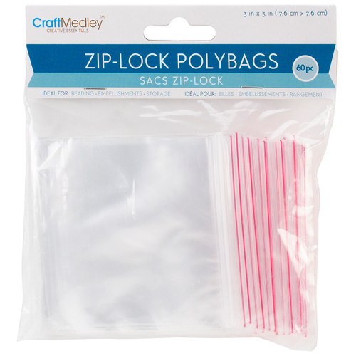 "Ziplock Polybags 60/Pkg-3""X3"" Clear -PB009 - 775749153248"