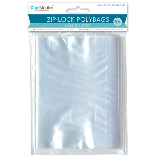 "Ziplock Polybags 15/Pkg-6""X8"" Clear -PB010 - 775749153255"