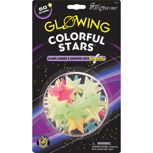 Glow-In-The-Dark Star Packs-Colorful Stars 50/Pkg -GLOW-19473 - 040595194739