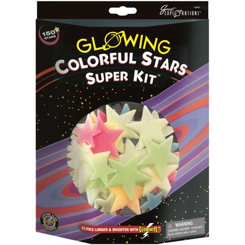 Glowing Stars Super Kits 150/Pkg-Colorful Stars -19492 - 040595194920