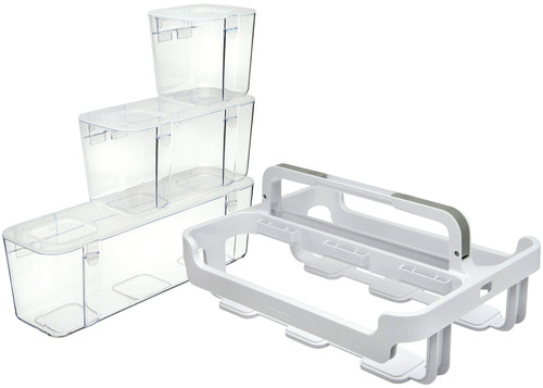 Deflecto Caddy Organizer W/Sml, Med & Lrg Compartments-White -29003CR