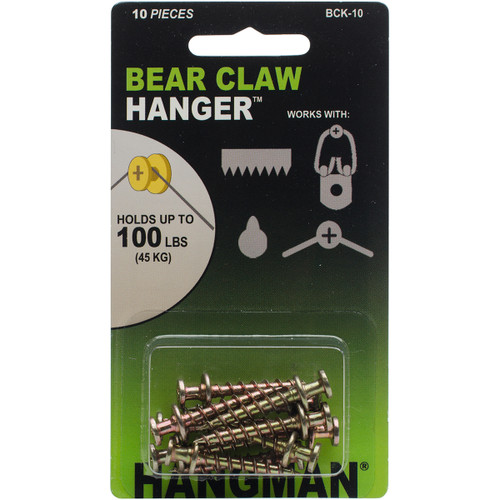 "Double Headed Bear Claw Hanger 1"" 10/Pkg-Gold -BCK-10 - 681391207911"