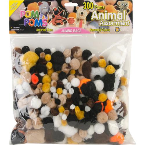 Pom-Poms Assorted 300/Pkg-Animal -POM-PMV - 725879829216