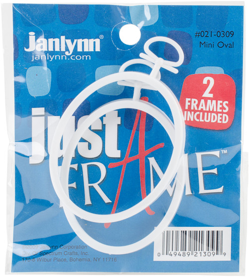 "Janlynn Just A Frame Mini Oval Hoop 2.25""X2.75"" 2/Pkg-White -21-0309 - 049489213099"